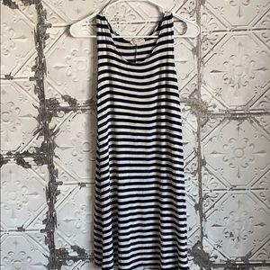 Navy blue and white striped Flowy tank dress
